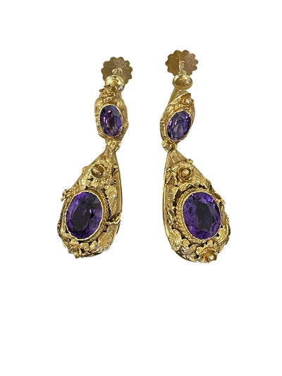 Earrings - Pair Of Victorian 15k Gold & Amethyst Earrings