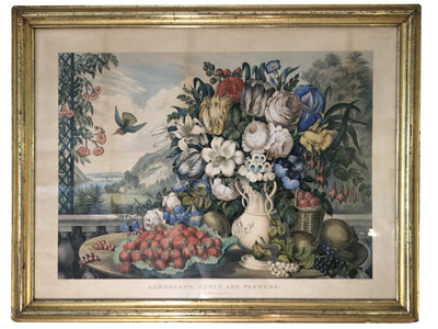 Original Currier & Ives Landscape Still Life Engraving with Exceptional Frame - Helen Storey Antiques