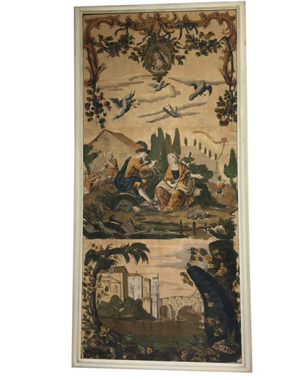 Set of Four Rare 17th-18th Century French Wallpaper Panels, Framed - Helen Storey Antiques