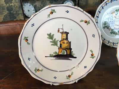 Set of Four Nevers French Faience Plates, 18th Century - Helen Storey Antiques