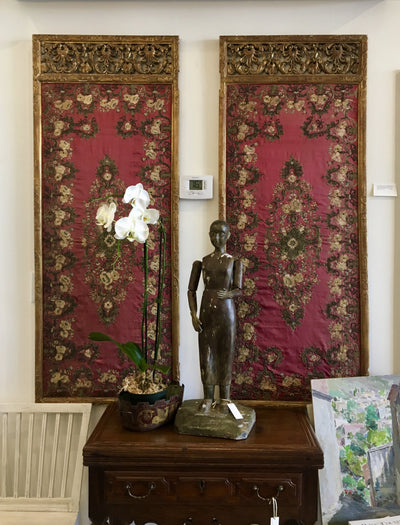 18th Century Italian Carved Giltwood Screen with Silk Needelwork - Panels - Helen Storey Antiques