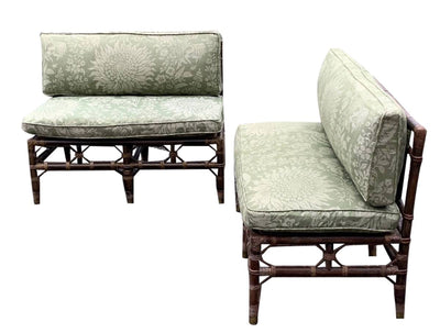 Garden Furniture - Pair Of Vintage Rattan Armless Settees