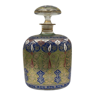 19th Century Fritz Heckert Jodhpur Range Enameled Decanter - Helen Storey Antiques