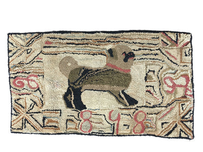 Pug Hooked Rug, American, Dated 1898 - Helen Storey Antiques