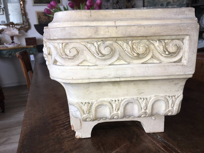 French Provincial White Painted, Carved, Jardinière - Helen Storey Antiques