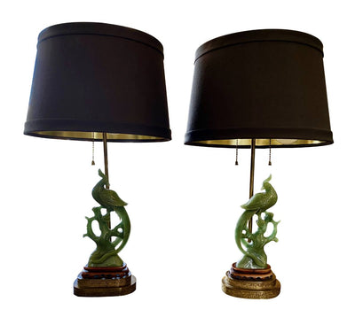Lamp - Pair Of Carved Jade Phoenix Lamps