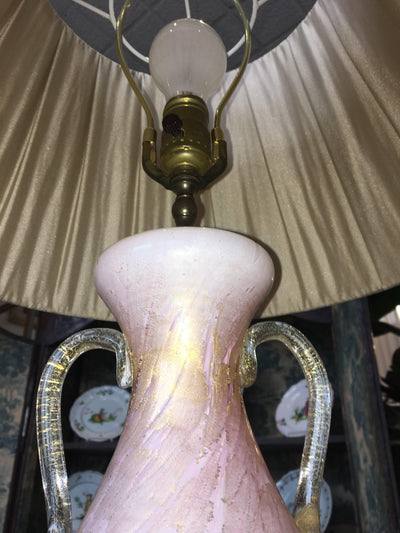 Pink and Gold Italian Murano glass lamp with Silk Shade - Helen Storey Antiques