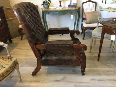 William IV Mahogany and Leather Reclining Library Chair - Helen Storey Antiques