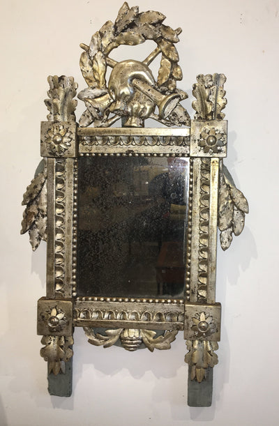 Small Carved and Silver Gilt Louis XVI French Provincial Mirror - Helen Storey Antiques