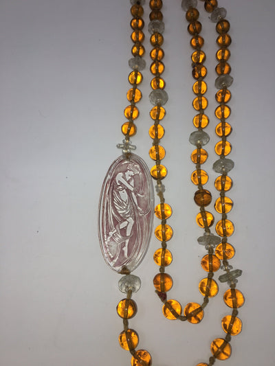 Lalique Art Deco Art Glass Plaque on Lalique beaded Amber Glass Necklace - Helen Storey Antiques
