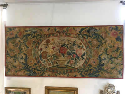Very Large English 18th Century Vibrant Floral Needlework Panel / Hanging - Helen Storey Antiques