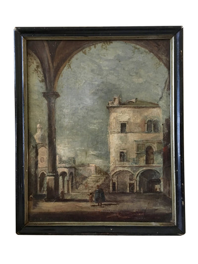 Charming Courtyard Landscape, 18th Century - Helen Storey Antiques
