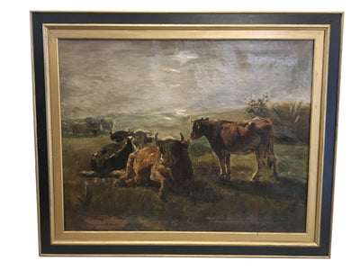 JHL De Haas (1832-1908), Antwerp, Large Oil on Canvas of Cows in a Pasture - Helen Storey Antiques