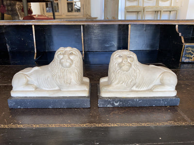 Ornamental Figures - Pair Of Fine And Charming Alabaster Lion Figures, C. 1820