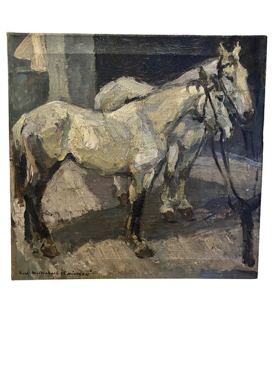 Painting - Karl Meisenbach, Two Horses, Oil On Canvas