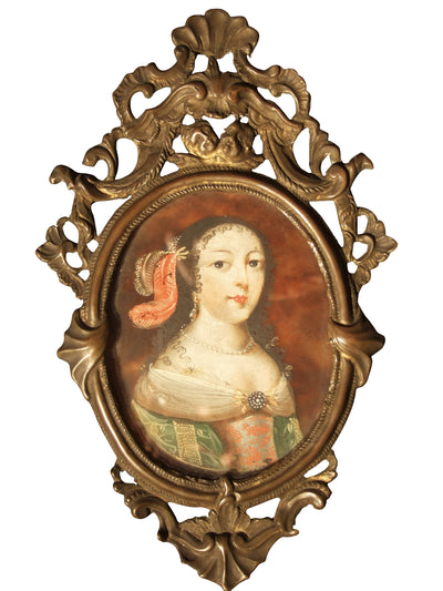 17th-18th Century Spanish Portrait Miniature, Noblewoman on Tortoiseshell - Helen Storey Antiques