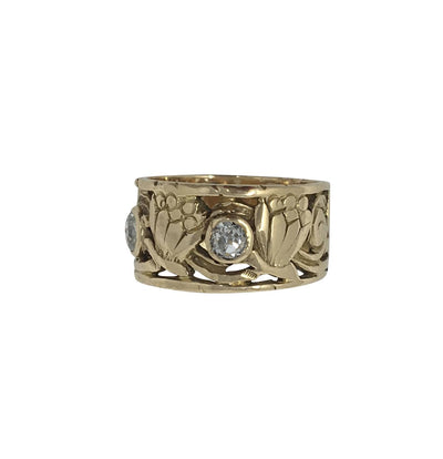 Arts and Crafts 14k Diamond Ring with Floral Design - Helen Storey Antiques