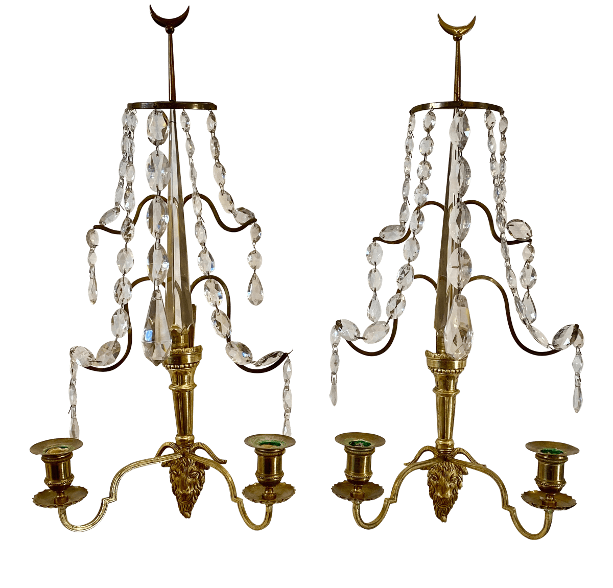 Sconces - Pair Of Baltic Or Russian Fire Gilt Bronze Two-arm Wall Sconces, Circa 1810 - Childs Estate