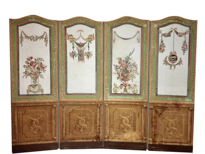 18th Century French Painted and Decoupage Screen - Helen Storey Antiques