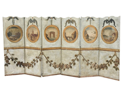 Stunning 18th Century French Provincial Oil on Canvas 6-panel screen - Helen Storey Antiques