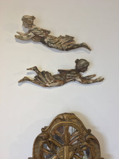 Charming Pair of 18th Century carved  Italian flying women - Helen Storey Antiques