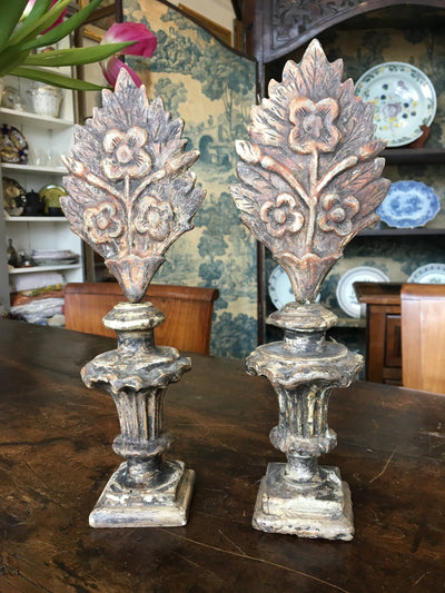 Pair of 18th Century Italian Carved and Painted Finials on Stands - Helen Storey Antiques