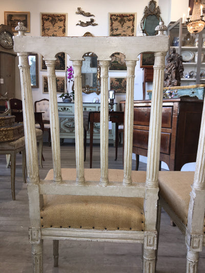 Pair of 19th Century Louis XVI style French White Painted side chairs - Helen Storey Antiques