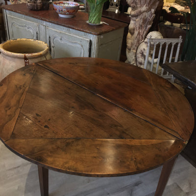 18th Century French Provincial Walnut Round Dining Table - Demilune - Helen Storey Antiques