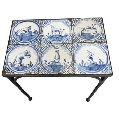 Iron Table with Six 17th Century Delft Animal Tiles - Helen Storey Antiques