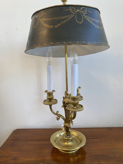 Table Lamp - 19th Century Fine Brass Ormolu Bouillotte Lamp - Flame Detail