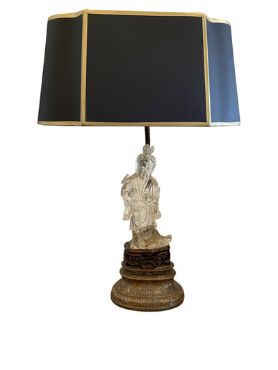 Table Lamp - Chinese Lamp With Peking Glass Sculpture Base