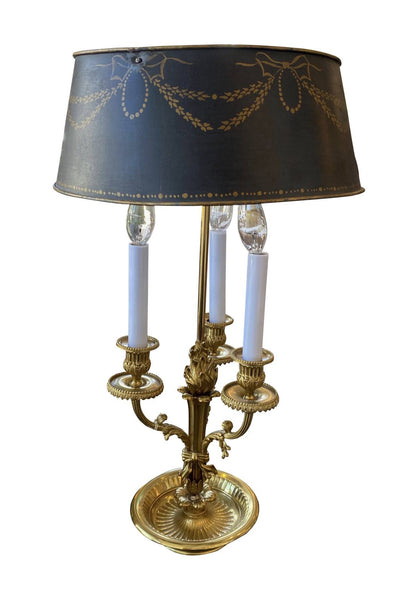 Table Lamp - Fine Brass Ormolu Bouillotte Lamp