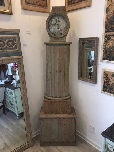 Gustavian Swedish Columnar Tall Case Clock, 18th Century - Helen Storey Antiques