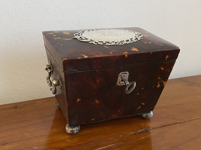 Tea Caddy - Charming Tortoiseshell Tea Caddy, Sterling Mounted
