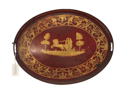 Red Napoleon III Tole Tray - Helen Storey Antiques