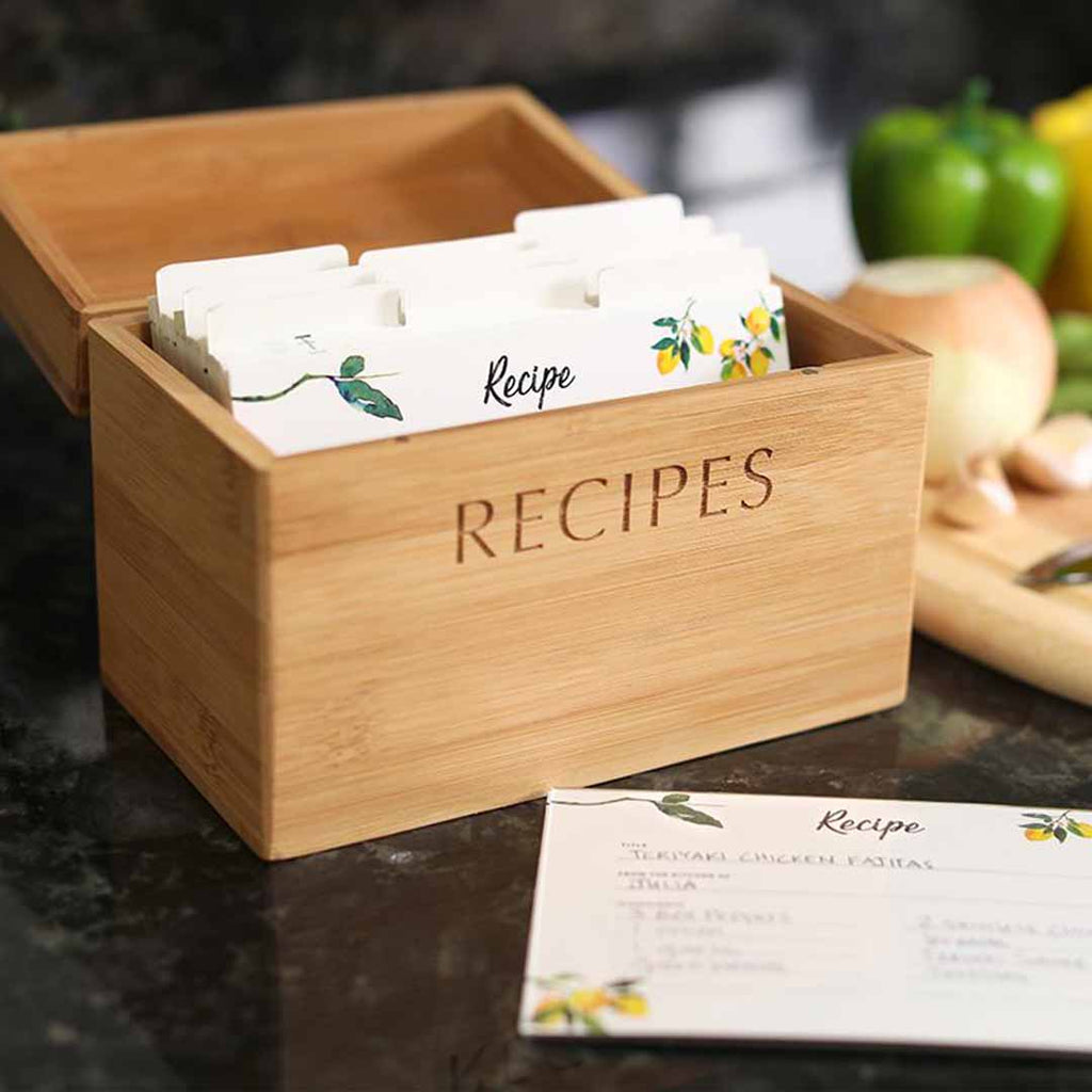 Bamboo Recipe Box and Cards