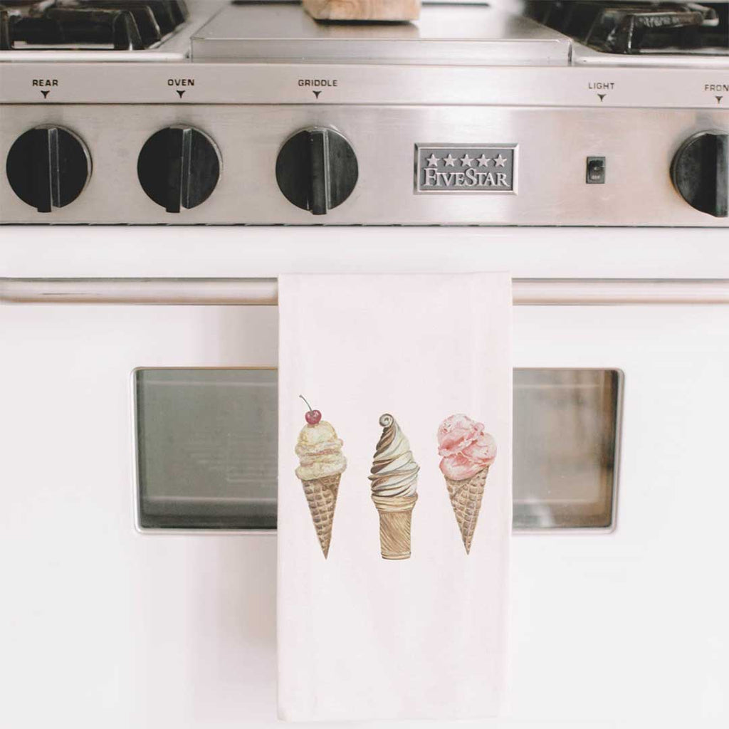 Ice Cream Watercolor Tea Towel