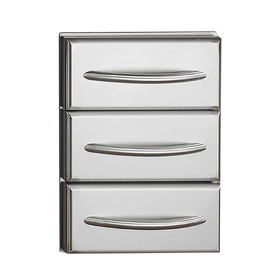 Napoleon   Flat Stainless Steel Built-in Triple Drawer Set