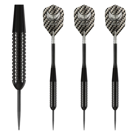 Harrows - Harrows Black Arrow 21g Steel Tip Darts - Mad On Darts -  Darts Sets