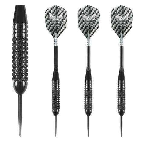 Harrows - Harrows Black Arrow 25g Knurled Steel Tip Darts - Mad On Darts -  Darts Sets
