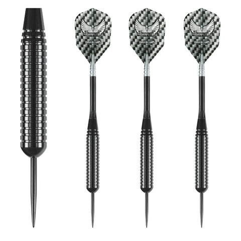 Harrows - Harrows Black Arrow 26g Steel Tip Darts - Mad On Darts -  Darts Sets