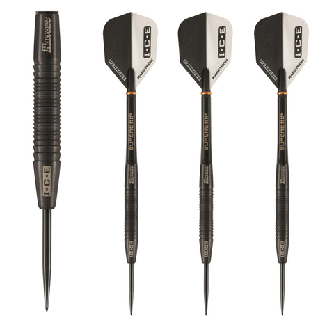 Harrows - Harrows Black Ice 24g Steel Tip Darts - Mad On Darts -  Darts Sets