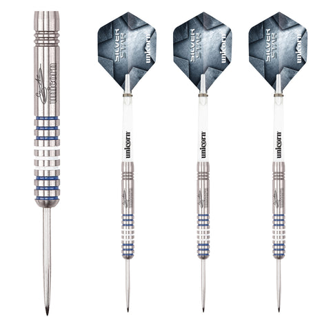 Unicorn - Unicorn Gary Anderson Silver Star II A Steel Tip Darts - Mad On Darts -  Darts Sets