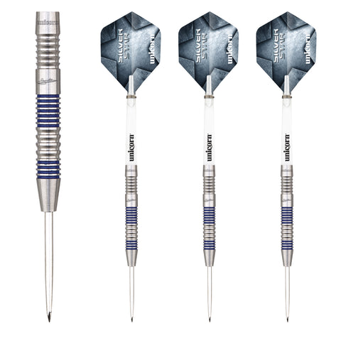 Unicorn - Unicorn Gary Anderson Silver Star II B Steel Tip Darts - Mad On Darts -  Darts Sets