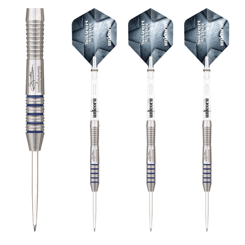 Unicorn - Unicorn Gary Anderson Silver Star II C Steel Tip Darts - Mad On Darts -  Darts Sets