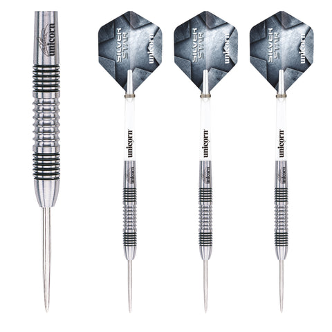 Unicorn - Unicorn Michael Smith Silver Star II Steel Tip Darts - Mad On Darts -  Darts Sets