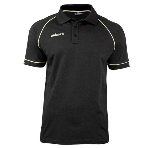Unicorn - Unicorn Match Polo Shirt Black Gold - Mad On Darts -  Dart Shirts