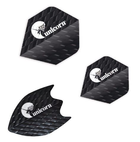 Unicorn - Unicorn Q.75 Ribbed Dart Flights Black - Mad On Darts -  Flights