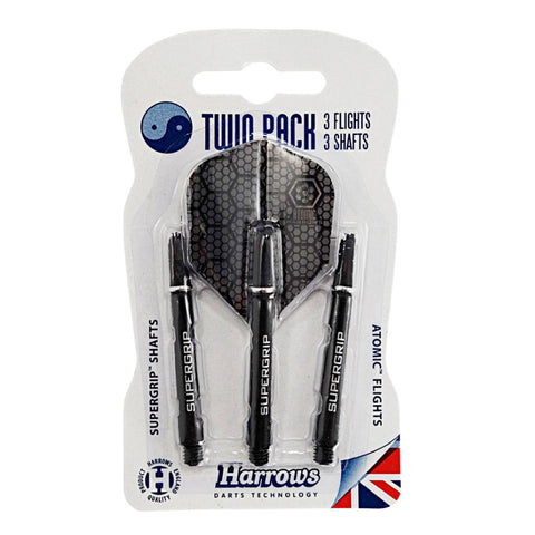 Harrows - Harrows Flight & Stem Twin Pack - Black/Silver - Mad On Darts -  Other Accessories