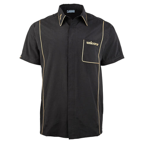 Unicorn - Unicorn Mens Teknik Dart Shirt Black Gold - Mad On Darts -  Dart Shirts